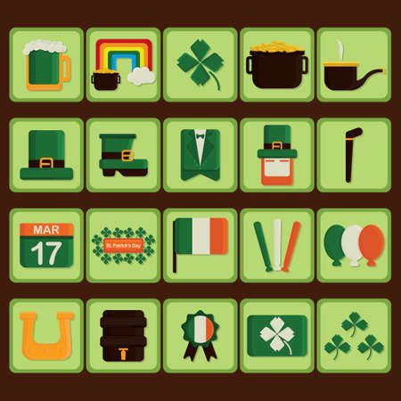 march 17: Set of st patricks day icons