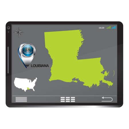 louisiana: Tablet pc with louisiana map