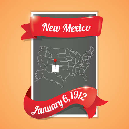 new mexico: New mexico state map poster Illustration