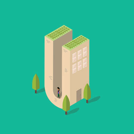 plant stand: Isometric building with alphabet U