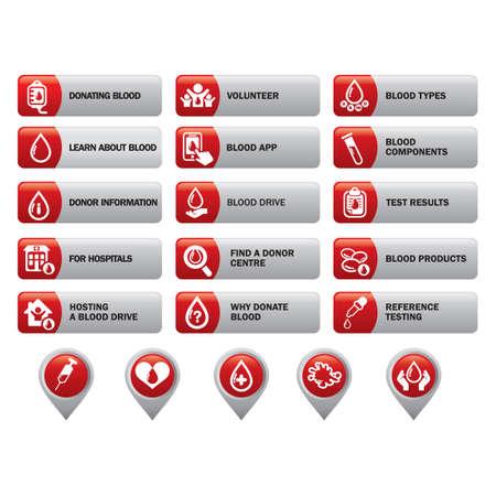 donation drive: Set of blood information icons Illustration