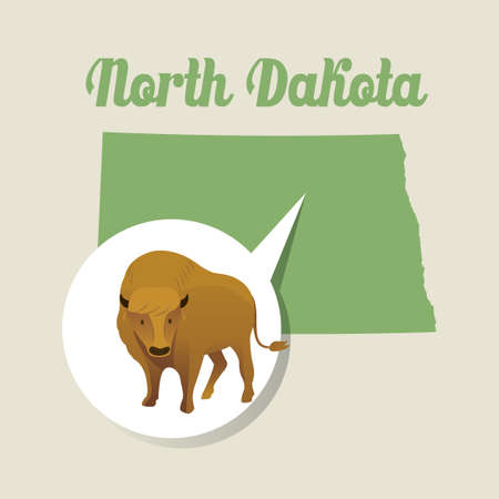bison: North dakota map with bison icon