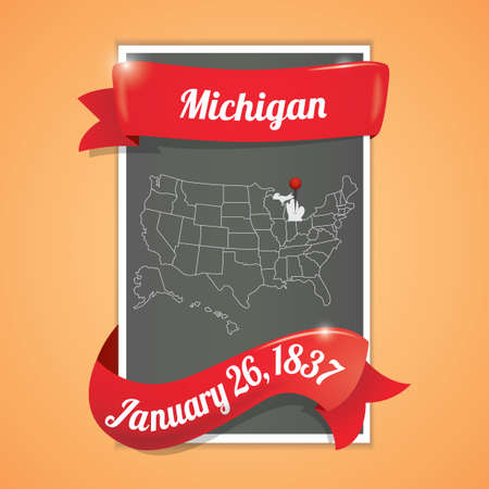 twenty sixth: Michigan state map poster Illustration