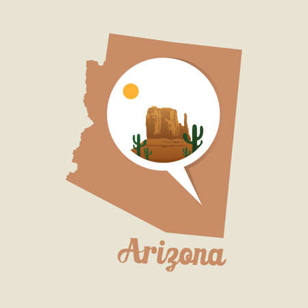 monument valley: Arizona map with monument valley icon