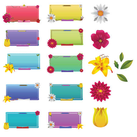 lily flowers collection: Set of flower labels