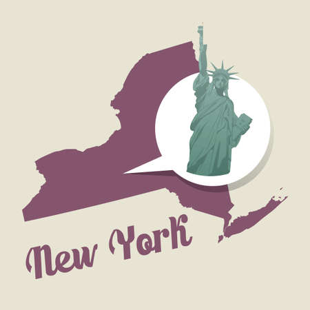 new york map: New york map with statue of liberty icon