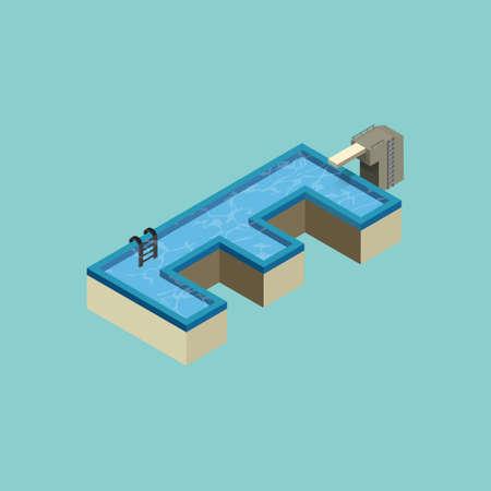 vowel: Isometric swimming pool design of alphabet E