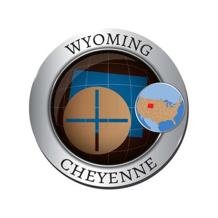 cheyenne: Wyoming state with screw nut badge