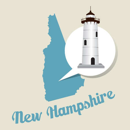 portsmouth: New hampshire map with portsmouth harbour light icon Illustration