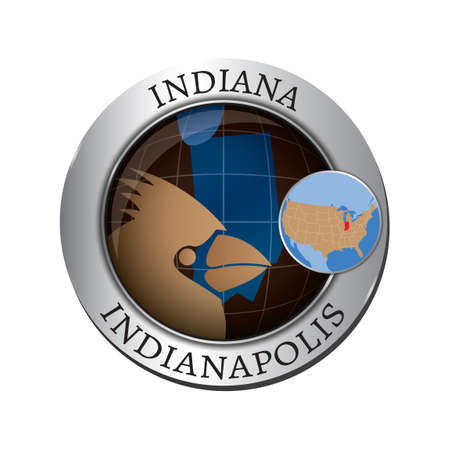 indianapolis: Indiana state with cardinal badge