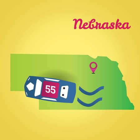 nascar: Map of nebraska state