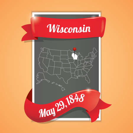wisconsin state: Wisconsin state map poster Illustration