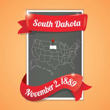 south dakota: South dakota state map poster