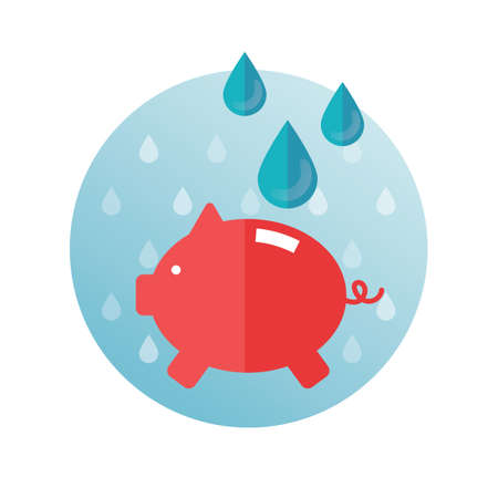 drops of water: Piggy bank with water drops