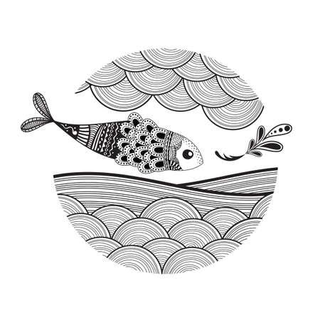 Diseño de los pescados de Zentangle