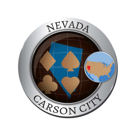 carson city: Nevada state with poker card badge Illustration