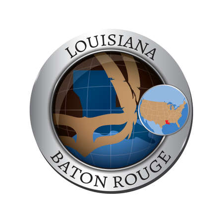 baton rouge: Louisiana state with mask badge Illustration