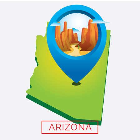 grand canyon: Map of arizona state