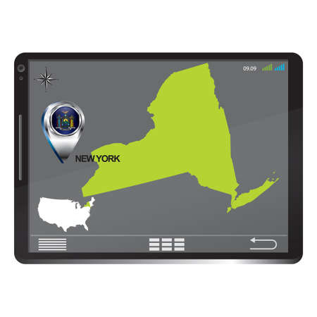 new york map: Tablet pc with new york map