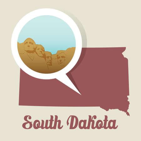 mount rushmore: South dakota with mount rushmore icon Illustration