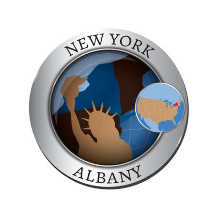 new york state: New york state with statue of liberty badge