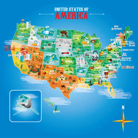 nascar: Fifty states of america with famous landmarks