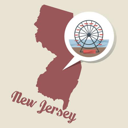 jersey city: New jersey map with atlantic city boardawalk icon