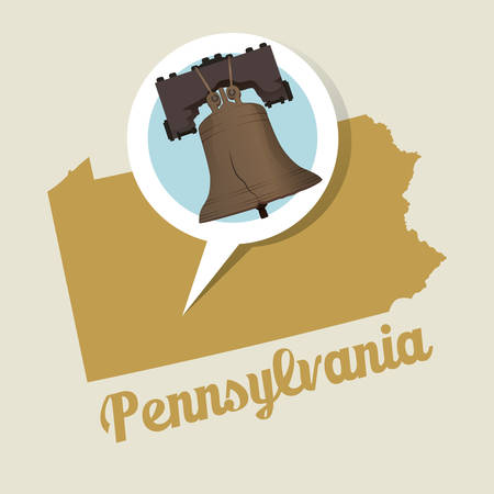 liberty bell: Pennsylvania map with liberty bell icon Illustration