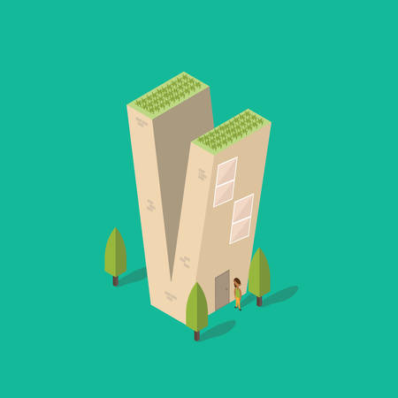 plant stand: Isometric building with alphabet V