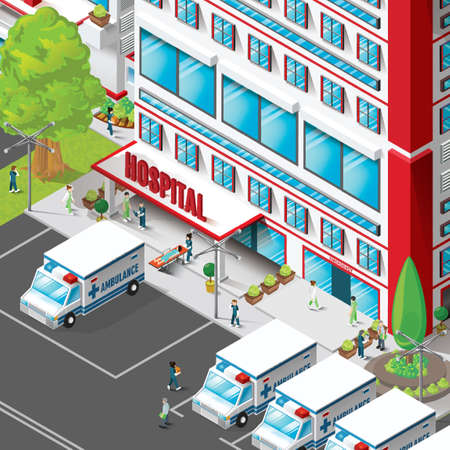 hospital stretcher: Isometric of hospital building Illustration