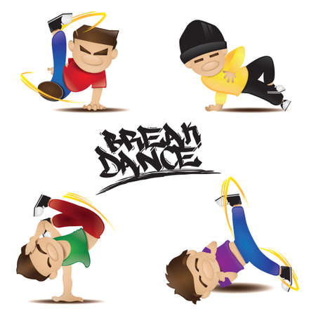 poses: Collection of man in various dance poses Illustration