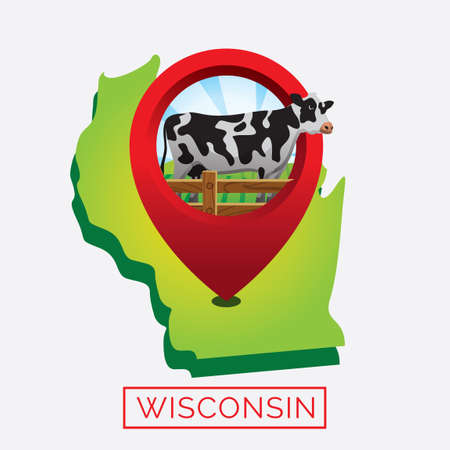 wisconsin state: Map of wisconsin state Illustration