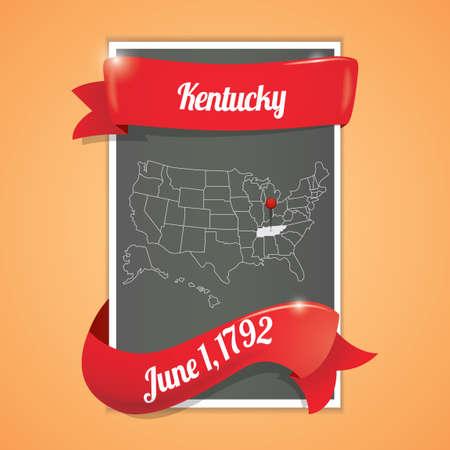 seventeen: Kentucky state map poster