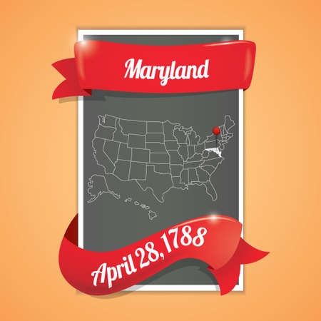 seventeen: Maryland state map poster Illustration