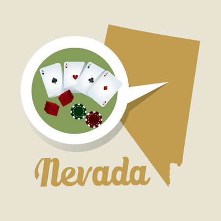 nevada: Nevada map with casino icon