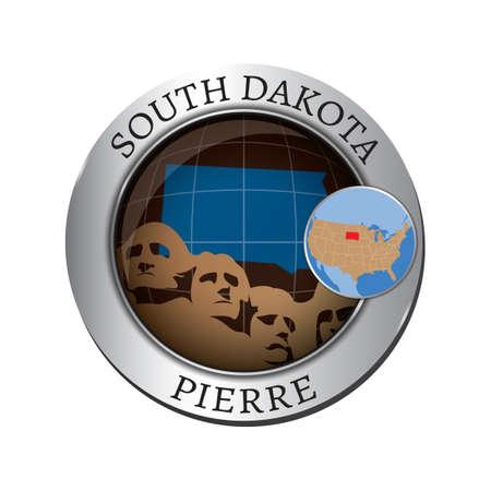 south dakota: South dakota state with mount rushmore badge