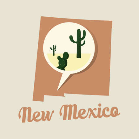 new mexico: New mexico map with desert icon