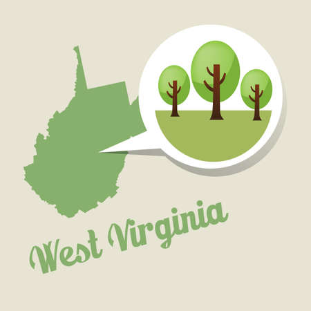 virginia: West virginia map with trees icon Illustration