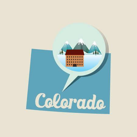 ski resort: Colorado map with ski resort icon Illustration
