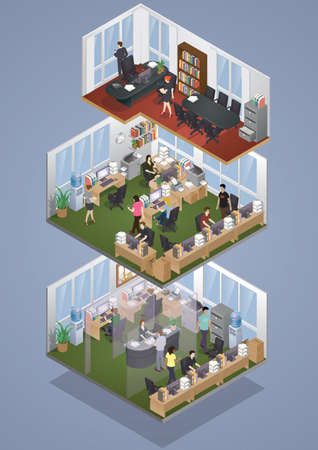 office plan: Isometric office layout Illustration