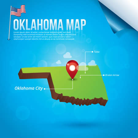 oklahoma: Map of oklahoma state Illustration