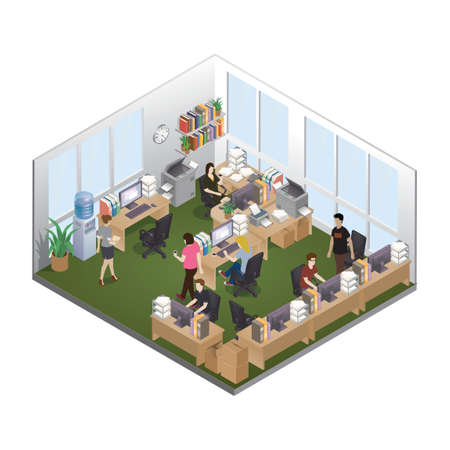 Isometric office layout Ilustracja
