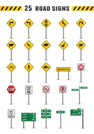 sheep warning: Set of road sign icons Illustration