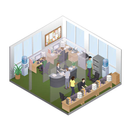 building plan: Isometric office layout Illustration