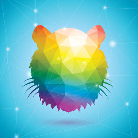 rainbow colors: Tiger in rainbow colors