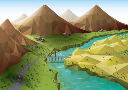 low: Mountain valley Illustration