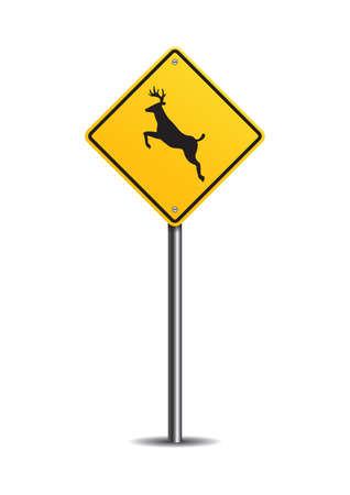 slow lane: Deer crossing sign