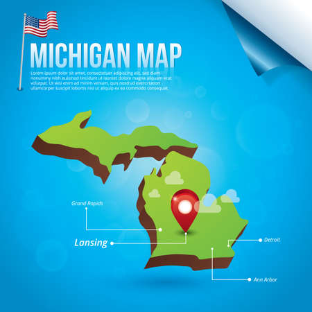 grand rapids: Map of michigan state Illustration