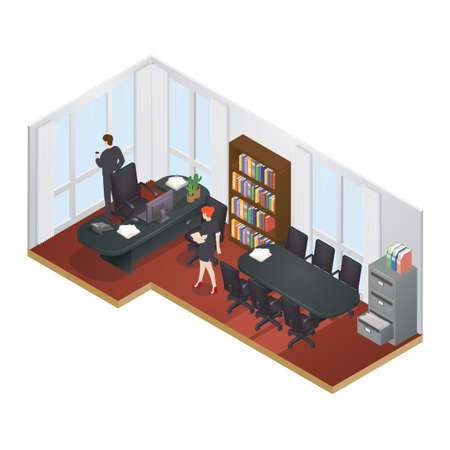 office computer: Isometric office layout Illustration