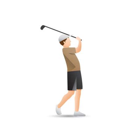 golf stick: Hombre que sostiene el palo de golf Vectores